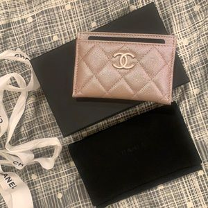 Authentic Chanel iridescent beige pearl cc holder